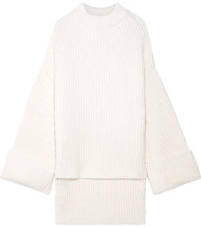 Jil Sander Oversized Ribbed Wool-blend Sweater - Cream