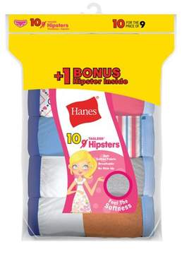 Hanes Girls' Cotton Hipsters 9+1 Bonus Pack