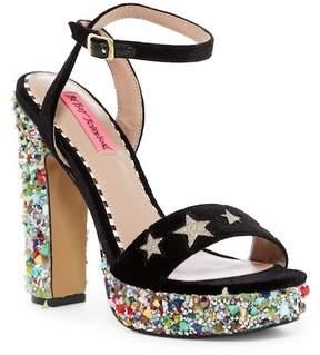 Betsey Johnson Kenna Embellished Ankle Strap Platform Sandal