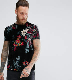 Reclaimed Vintage Inspired Ringer T-Shirt In Black Velour With Floral Print
