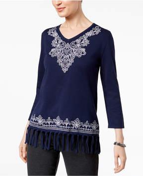 Alfred Dunner Montego Bay Embroidered Fringe Sweater