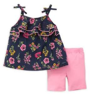 Little Me Baby Girl's Two-Piece Floral Top and Knit Shorts Set