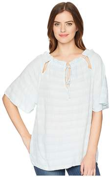 Michael Stars Plisse Front-To-Back Tie Neck Top Women's Clothing