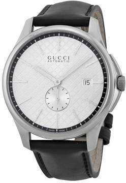 Gucci G-Timeless Automatic Silver Dial Black Leather Strap Men's Watch YA126313