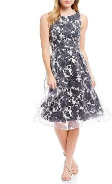 Adrianna Papell Floral Burn Out Midi Dress