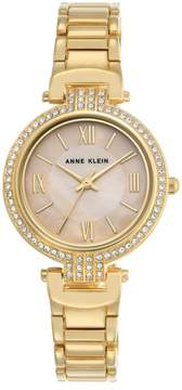Anne Klein Goldtone Pavé Lugs Blush Dial Bracelet Watch