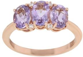 Damiani Bliss 18K Rose Gold 0.06 Ct Diamond & 2.50 Ct Amethyst Three-Stone Size 7.5 Ring