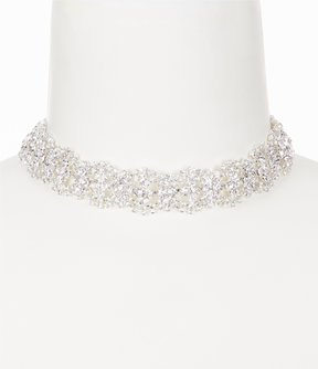 Cezanne Rhinestone Wave Choker Necklace