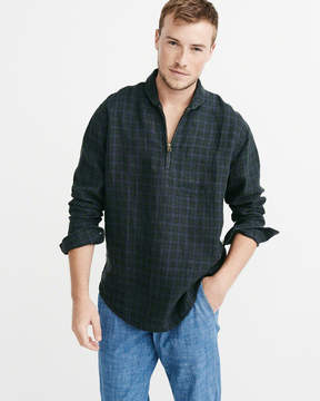 Abercrombie & Fitch Half-Zip Linen Shirt