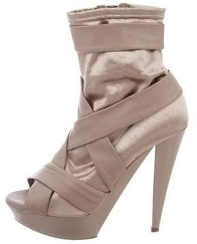 Burberry Satin Peep-Toe Ankle Boots