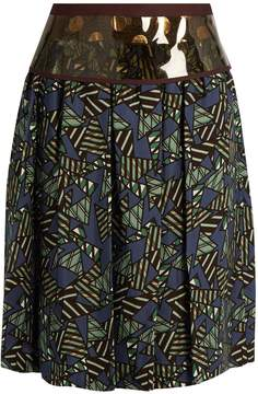 Kolor Geometric-print satin skirt