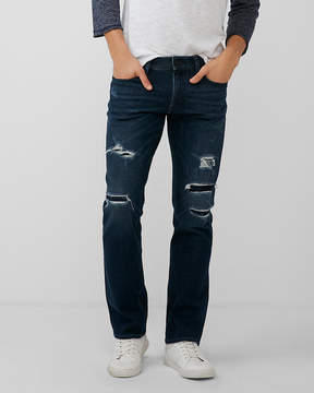 Express Slim Straight Dark Wash Destroyed 4 Way Stretch Jeans