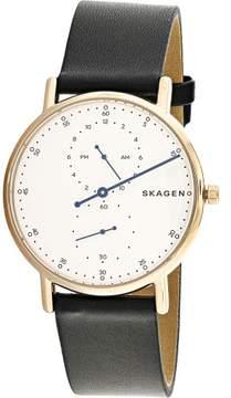 Skagen Men's Signature SKW6390 Rose-Gold Leather Japanese Quartz Fashion Watch