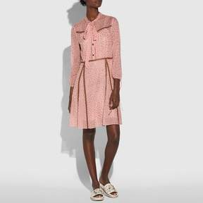 COACH COACH STAR PRINT BUTTON UP DRESS - PINK