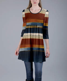Azalea Blue & Brown Abstract Stripe Empire-Waist Tunic - Women & Plus