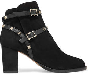 Valentino Rockstud Leather-trimmed Suede Ankle Boots - Black