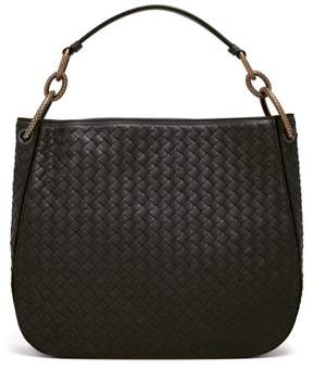 Bottega Veneta Loop Small Intrecciato Leather Shoulder Bag - Womens - Black