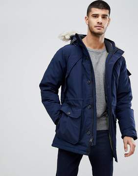 Penfield Hoosac Down Insulated Parka Jacket Detachable Faux Fur Trim in Navy