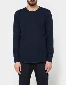 Reigning Champ Scalloped LS Crewneck - Mid Weight Terry in Navy