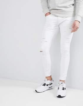 N. Liquor Poker White Skinny Ripped Jeans
