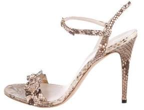 Gucci Snakeskin Ruffle-Accented Sandals