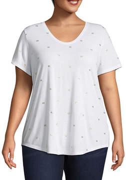 Boutique + + Short Sleeve Scoop Neck Camera Print T-Shirt - Plus