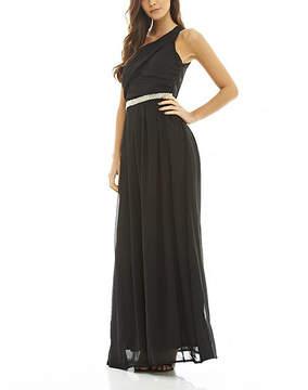 AX Paris Black Jeweled-Waist Asymmetrical Dress - Women