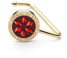Aspinal of London | Handbag Hook In Gold Snake Leather Multi Coloured Swarovski Elements | Red patent ruby swarovski elements