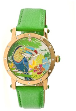 Mother of Pearl Bertha Gisele Toucan Steel Case Green Leather Strap Ladies Watch