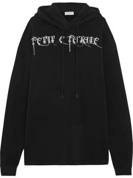 Balenciaga Femme Fatale Oversized Embroidered Stretch-jersey Hooded Top - Black