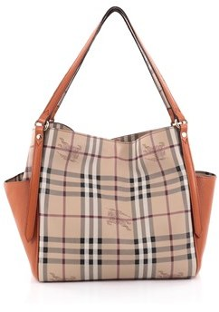 Burberry Pre-owned: Canterbury Panels Tote Haymarket Coated Canvas And Leather Small. - NEUTRAL - STYLE