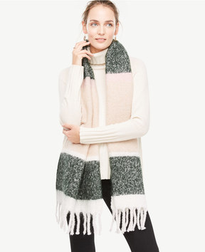 Ann Taylor Brushed Stripe Blanket Scarf