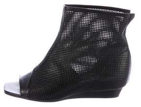 Vic Matié Perforated Leather Peep-Toe Ankle Boots w/ Tags
