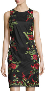 Donna Ricco Floral-Embroidered Nylon Sheath Dress