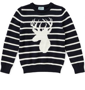 Class Club Big Boys 8-20 Striped Deer Pullover Sweater