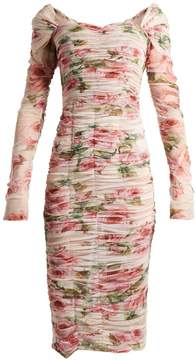 Dolce & Gabbana Rose-print ruched-tulle dress