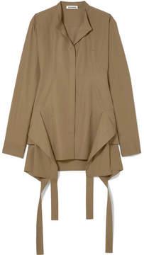 Jil Sander Paneled Cotton-poplin Shirt - Army green