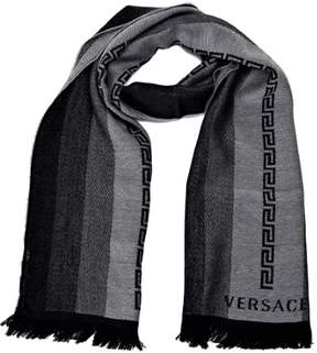 Versace Greek Key Pattern Scarves Black-Grey