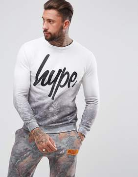 Hype Holidays Sweatshirt In White With Tree Fade