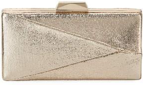 Neiman Marcus Crinkle Foil Metallic Evening Box Clutch Bag