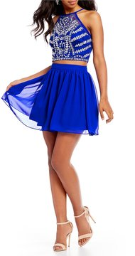 B. Darlin Beaded Illusion Top Two-Piece Dress