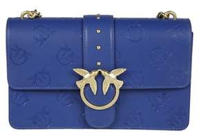 Pinko Women's Blue Leather Shoulder Bag.