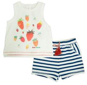 ED Ellen Degeneres Baby Girl's Two-Piece Strawberry Top and Striped Shorts Cotton Set