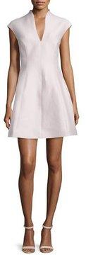 Halston Cap-Sleeve A-line Dress, Barely Pink
