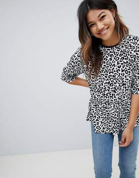 Asos Design Mono Animal Smock T-Shirt
