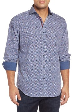 Bugatchi Men's Classic Fit Dot Print Sport Shirt