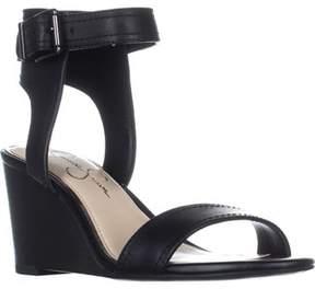 Jessica Simpson Cristabel Ankle Strap Wedge Sandals, Black.