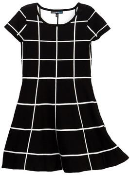 My Michelle mymichelle Windowpane Knit Skater Dress (Big Girls)