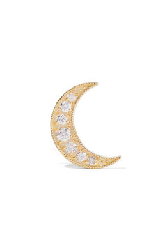 Andrea Fohrman Mini Crescent 18-karat Gold Diamond Earring