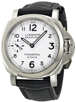 Panerai Luminor Marina 8 Days Acciaio Mechanical White Dial Men's Watch